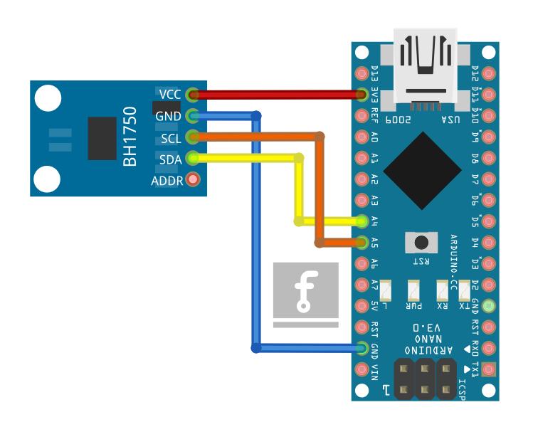 Połączenie czujnika BH1750 z płytką Arduino NANO.